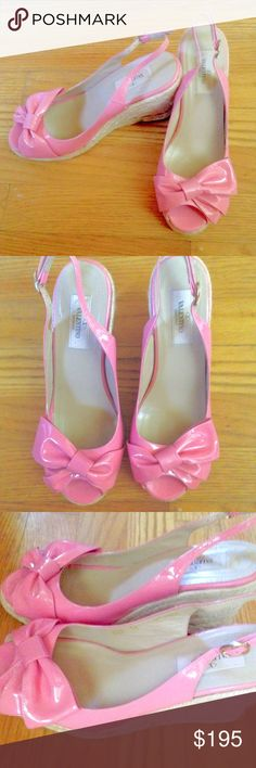 """Valentino Wedges Pink patent leather authentic designer Valentino sling back wedges in a size 38 (8 US). Wedge heel height is 3.50"""" and platform is 0.75"""". True to size. Valentino Shoes Espadrilles"""