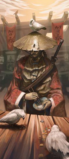 Samurai with friends, Hueala Teodor on ArtStation at https://www.artstation.com/artwork/samurai-with-friends