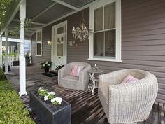 Chandelier on veranda Exterior Paint Colors, Exterior House Colors, Paint Colors For Home, Paint Colours, Outdoor Rooms, Outdoor Living, Outdoor Decor, Front Verandah, Front Porch