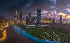 Abu Dhabi, Evening, skyscrapers, United Arab Emirates, city lights