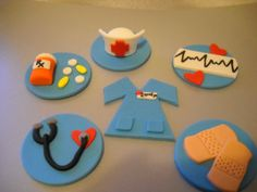 Nurse Fondant Cupcake Toppers - Set of 12