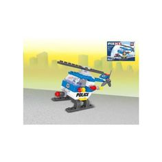 The Small Police Helicopter set from BricTek is a 68 piece, Lego compatible construction set.  The set comes with everything you need to build the police helicopter and is rated easy to build.  This construction set is recommended for ages 6 and up.