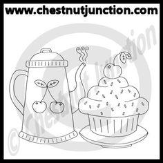 Redwork Tea & Cake Line Art
