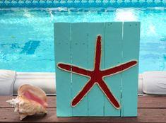 Handmade Starfish with Rope Beach Pallet Art by BeachByDesignCo on Etsy