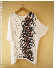 【楽天市場】芸術家のなぐり書きアートのようなドルマントップス  触れてみたくなる立体感。この存在感半端じゃない。立体に毛糸を織り込んだ生地を使用しています。(メール便不可)森ガ-ル:ワンピース専門店 Yarns and fibers machine sewn to a tee shirt.  I thinking of creating a design on front of a button front sweater for fall.  Gray will be lush!