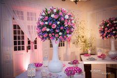 decoração arranjo casamento rosa e azul Rio