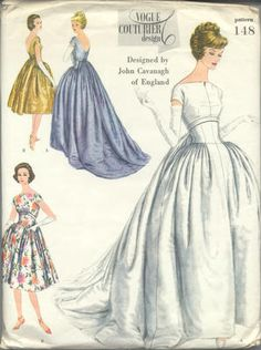 1958 Vintage Vogue Sewing Pattern Evening Dress Gown 1401 BY John Cavanagh… Vintage Dress Patterns, Vintage Dresses, Vintage Outfits, 1930s Wedding Dresses, Vogue Wedding Dress Patterns, 50s Wedding, Bling Wedding, Gown Wedding, Wedding Flowers