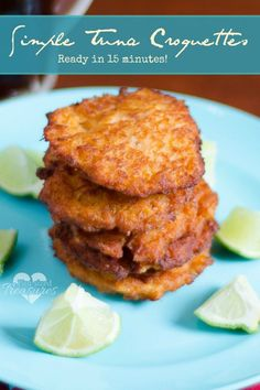 Simple Tuna Croquettes - Does your family love tuna fish? I challenge you to go beyond tuna salad and try these tuna croquettes for a main dish this week! Its flavorful and easy! Fish Dishes, Seafood Dishes, Seafood Recipes, Cooking Recipes, Healthy Recipes, Tuna Fish Recipes, Main Dishes, Canned Tuna Recipes, Healthy Food