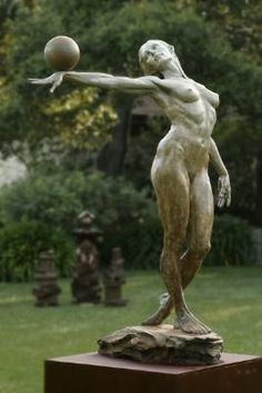 """Balance by Paige Bradley - SIC """"Balance was the beginning of my career. I couldn't afford a model; so, I often held the pose in a mirror while sculpting her with my left hand(...). Higher at http://www.artrenewal.org/articles/2006/Salon/large/S-246.JPG http://paigebradley.com/ (Thx Victorius)"""