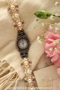 beads watch.pearl and pink. birthday present. http://ameblo.jp/ladouce/entry-11176161066.html