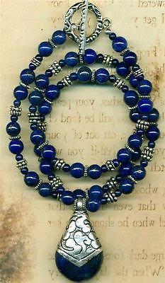 "Lapis Lazuli Necklace and Earring Set 19"" Tibet Teardrop Pendant Just Gorgeous | eBay"