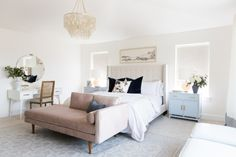Studio mcgee bedroom with pink velvet bench at end of bed in neutral master bedroom with chandelier and upholstered headboard with nightstand decor, desk in master bedroom, neutral bedroom decor Master Bedroom Design, Dream Bedroom, Home Decor Bedroom, Bedroom Furniture, Bedroom Ideas, Sofa In Bedroom, Bedroom Inspiration, Bedroom Inspo, Bedroom With Vanity