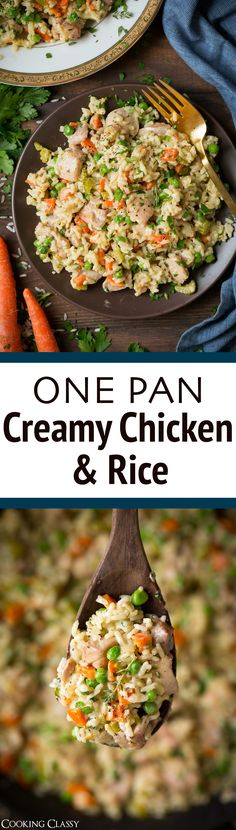 One Pan Creamy Chicken and Rice – it's perfectly hearty, deliciously creamy and totolly comforting! A one pan chicken, rice and veggie dinner everyone will love! Delicious flavor and easy clean up. via Jaclyn {Cooking Classy} Creamy Chicken And Rice, Chicken Rice, Baked Chicken, Ground Chicken Recipes, Veggie Dinner, Cooking Recipes, Healthy Recipes, Rice Recipes, Cooking Ideas