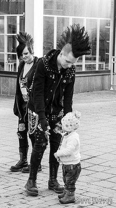 Punk family cute, mohawks. Punk parents