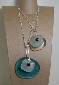 recycled glass doubled pendants by Jennifer L Worden Olympus Digital Camera, Recycled Glass, Cleveland, Washer Necklace, Recycling, Pendants, Bottle, Creative, Accessories