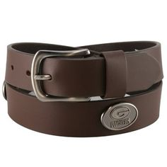 Green Bay Packers Brown Leather Concho Belt