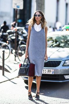 Simple, minimalist, chic. This is staple style done to the ultimate best! now where is MY grey shift dress - that - looks - this - good - with - anything?