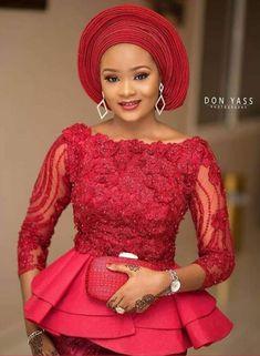 Best 12 2019 Aso ebi styles: Trendy Design for African Women Nigerian Lace Dress, Nigerian Lace Styles, African Lace Styles, Ankara Styles, Nigerian Bride, African Wear Dresses, Latest African Fashion Dresses, African Attire, African Women Fashion