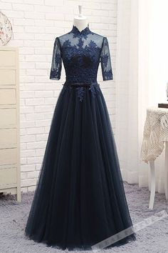 Dark blue tulle vintage prom dress, formal dress, prom dresses 2017