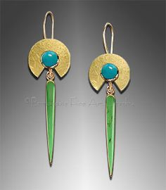 i think i love this site - bernardine.com -     Gold Earrings    18K Gold with  Chrysoprase and Chrysocolla