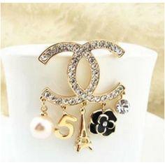 Replica Fashion RhinestoneChanel 5 Pendant Brooch, $15.50