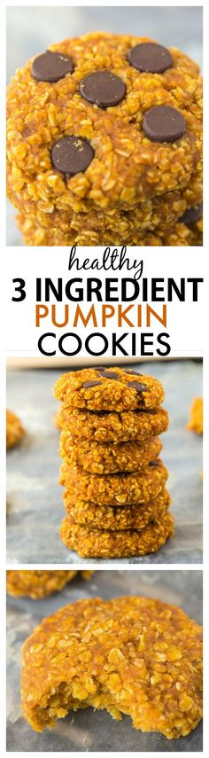 Healthy 3 Ingredient Flourless Pumpkin Cookies- Chewy Easy quick and just three ingredients these cookies have no butter flour and can be completely sugar free! Healthy Desserts, Delicious Desserts, Yummy Food, Healthy Recipes, Kosher Desserts, Fancy Desserts, Quick Recipes, Dessert Recipes, Pumpkin Oatmeal Cookies