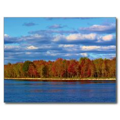 Penobscot River Autumn Scenery Postcard (Pkg of 8) by KJacksonPhotography --  Taken 10.10.2014 Striking blue skies reflected in the Penobscot River contrast wonderfully with the autumn colors, bright reds, orange and green. At N. 4th St Boat Landing in Old Town, Maine.PC:234.274 #nature #photography #autumn #landscape #postcard #postcards