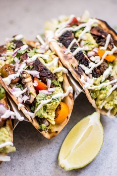 These vegetarian grilled portobello mushroom tacos are satisfying, healthy, TASTY, and make the perfect summer meal. Even carnivores will love them! Vegetarian Tacos, Healthy Tacos, Vegetarian Recipes, Healthy Recipes, Vegetarian Dish, Clean Recipes, Yummy Recipes, Healthy Food, Recipies