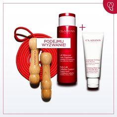 Ujędrniający zestaw od Clarins (Skakanka, Body Lift Cellulite Control, Exfoliating Body Scrub)