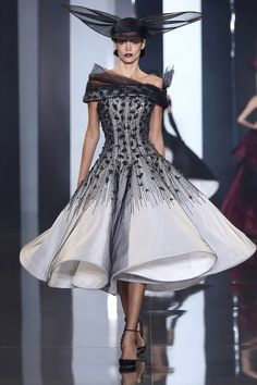 Ralph & Russo | Fall 2014 Couture | 28 Monochrome embellished off shoulder midi dress