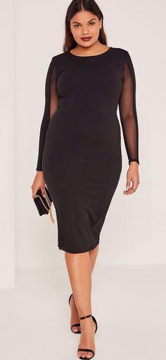 Plus Size Mesh Panels Midi Dress