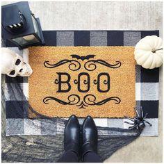Enter if you dare! 💀🕷🖤 #boo #happyhalloween #halloween #halloweendoormat #diy #doormat #coirdoormat #buffalocheck #cricutmade… Buffalo Check, Diys, Halloween, Create, Home Decor, Decoration Home, Bricolage, Room Decor, Halloween Labels