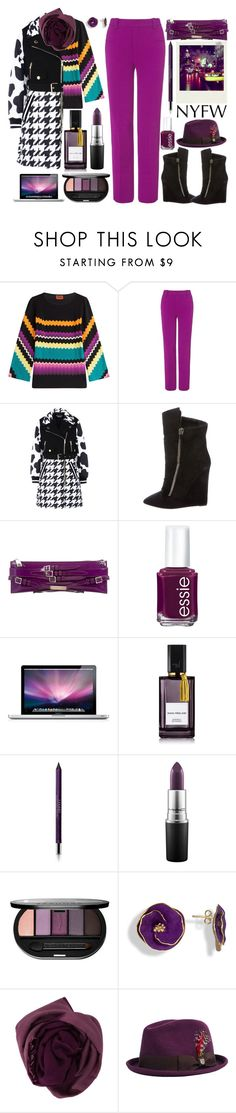 """""""Pack For NYFW: Black, White And Violet"""" by sinesnsingularities ❤ liked on Polyvore featuring Missoni, Roland Mouret, Boutique Moschino, Giuseppe Zanotti, Burberry, Polaroid, Essie, Diana Vreeland, By Terry and MAC Cosmetics"""