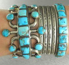 66g WIDE Old Jack Adakai (d.) Pawn Ingot  Blue Navajo Turquoise Cuff Bracelet