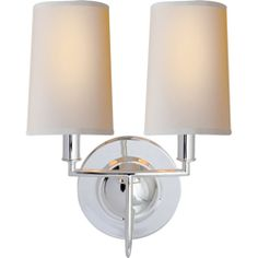 Visual Comfort Thomas O'Brien Elkins Double Sconce in Polished Silver with Natural Paper Shades TOB2068PS-NP