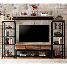 4 pc kerbyll industrial style antique black finish entertainment center Furniture of america 4 pc kerbyll industrial style antique black finish entertainment center (Visited 1 times, 1 visits today) Industrial Tv Stand, Industrial Design Furniture, Pipe Furniture, Industrial Living, Industrial Shelving, Industrial Interiors, Home Decor Furniture, Furniture Design, Industrial Pipe