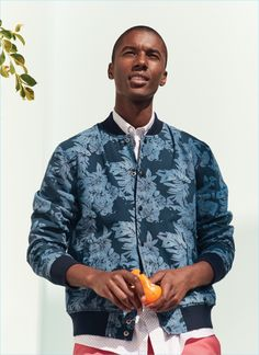 Claudio Monteiro sports a patterned bomber jacket from Nordstrom's 1901 line.