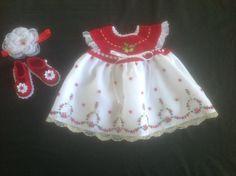 Handmade Crochet Newborn Baby Girl Dress Set  Red