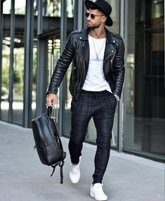 Leather Jeans Men, Leather Jacket Outfits, Stylish Mens Outfits, Casual Fall Outfits, Street Fashion, Mens Fashion, Fashion Outfits, Retro Fashion, Men's Outfits