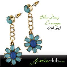"""Blue Daisy Earrings From Regal. A new colour scheme for everyone's favourite flower! Turquoise and royal blue smooth acrylic stones make up cool and sleek daisies, which hang from post-style earrings (2""""L). Product Number - JC1089"""