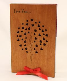 Love tree Wood Card original Wooden Gift, Prezent 5 Year 5th wedding Anniversary gifts, cards for him, boyfriend, men, husband, her, girlfriend, women, wife.