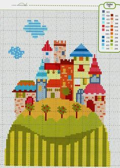 Free colourful village cross stitch pattern #stitching