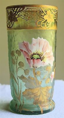 This is a beautiful French art glass Mont Joye vase. It is finished in a green glass with hand painted flowers, leaves and stems. Antique Glass, Antique Art, Jugendstil Design, Art Of Glass, Art Nouveau Design, China Painting, Glass Ceramic, French Art, Vases