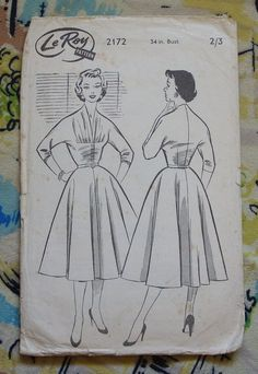 MAGYAR Sleeve 1950s Full Skirt Day Dress Sewing Pattern 34 | Etsy Day Dresses, Dresses With Sleeves, Dress Sewing, Fashion Sketches, 1950s, Sewing Patterns, Trending Outfits, Unique Jewelry, Handmade Gifts