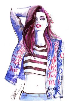 Original Watercolor painting inspired by Hanna Verhees, Fashion Illustration, Woman art, Trendy Wall Art Home decor Style Chic, Calligraphy by ScentOfArt on Etsy