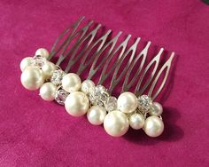 pearl wedding comb pearl hair comb wedding by nefertitijewelry2009, $23.90