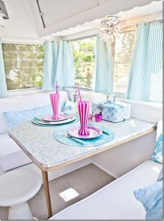 Interior of the pink & white vintage trailer