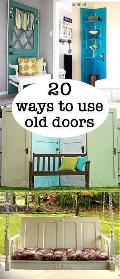 20 ways to use old doors. 20 projects using old doors. Use old doors in a new way with these great ideas for turning old doors into something useful and new for your home. Old Door Projects, Cool Diy Projects, Craft Projects, Wood Projects, Old West, Upcycled Crafts, Diy Crafts, Wood Crafts, Paper Crafts