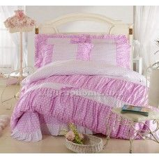 Light Pink Floral Lace Bowtie Girls Duvet Cover And Sheet