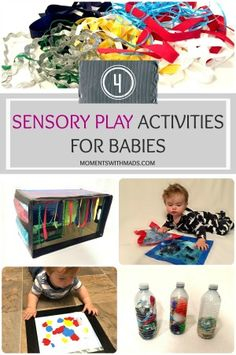 Here are the how-to-steps to create 4 different sensory play activities for your little one. What better way to keep their busy brains active than creating different sensory toys that can help stimulate their senses, work on strengthening their cognitive abilities, help with improving their motor skills, all while having fun playing and exploring with the fun textures, shapes, and colours! Sensory Bottles, Sensory Toys, Infant Activities, Motor Skills, Little Ones, Exploring, Have Fun, Challenges, Colours